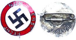 """1211 Nationalsozialistische Sympathie-Abzeichen, """"Nun Erst Recht"""", Emailliert, 18 Mm, Hersteller GES. GESCH., Zustand I- - Army & War"""