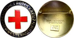 """1213 Brosche """"Schwesternschaft"""", Emailliert, Hersteller Klein U. Quenzer AG I-Oberstein, Rückseitig Kleine Plakette Mit  - Army & War"""
