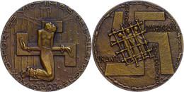 1218 Frankreich, Bronzemedaille Zum Gedenken An Die NS-Opfer In Verschiedenen Konzentrationslagern, Avers: Mann Gefessel - Army & War