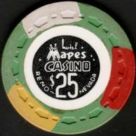 $25 Casino Chip. Mapes, Reno, NV. 1969. K55. - Casino