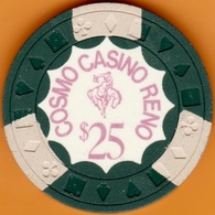 $25 Casino Chip. Cosmo, Reno, NV. 1970. K55. - Casino