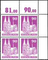 6430 90 Pfg Bauten, Type III In Zähnung A, Eckrand-4er-Block, Tadellos Postfrisch, Unsigniert, Mi. 880.-+, Katalog: 96II - American/British Zone