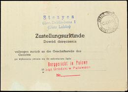 8244 1943, Zustellungsurkunde Aus Distrikt Lublin, Form-Nr. DPD 435 (10.41) Mit Allen Stempeln Und Unterschriften, Selte - Deutschland