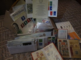 Box With Small Bags, Small Albums, Letters, FDC... - Stamps