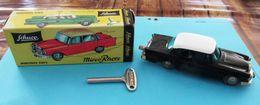 Schuco Micro Racer Nr. 1038 - Altes Modellauto Mercedes 220 S Im Orig. Karton - Uhrwerkaufzug - Gefertigt Ab 1961 - Antikspielzeug