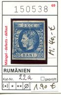 Rumänien - Roumenie - Rumania - Michel 22 A - Mängel / Defects / Défaut - Oo Oblit. Used Gebruikt - 1858-1880 Moldavia & Principality