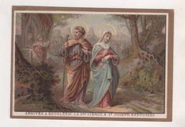 IMAGE PIEUSE ANCIENNE, ARRIVEE A BETHLEEM, LA SAINTE VIERGE, SAINT JOSEPH  - MAISON DE LA BONNE PRESSE PARIS - DORURE - - Images Religieuses