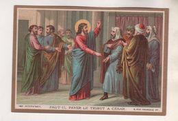 IMAGE PIEUSE ANCIENNE, FAUT IL PAYER LE TRIBUT A CESAR -  MAISON DE LA BONNE PRESSE PARIS - DORURE - A VOIR - Images Religieuses