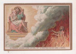 IMAGE PIEUSE ANCIENNE, LAZARE DANS LE CIEL, MAUVAIS RICHE DANS L ENFER -  MAISON DE LA BONNE PRESSE PARIS - DORURE - Images Religieuses