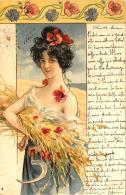 [DC11613] CPA - DONNA WOMAN FIORI FIENO FALCE - SERIE 366 - Non Viaggiata - Old Postcard - Illustratori & Fotografie