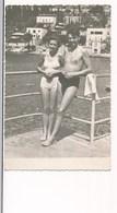 REAL PHOTO -  Swimwear Girl Trunks Boy On Beach Garcon Et Fillettes Sur La Plage Old  Photo - Personnes Anonymes