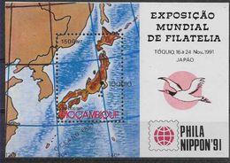 1991 MOZAMBIQUE BF 24** Exposition Philatélique Japon, Carte - Mozambique