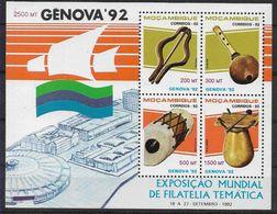 1992 MOZAMBIQUE BF 25** Exposition Philatélique Gênes , Instruments De Musique - Mozambique