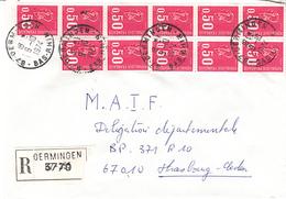 Env Reco Affr Y&T 1664 X 11 Obl OERMINGEN Du 9.10.1974 Adressée à Strasbourg - Elsass-Lothringen