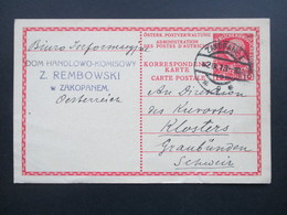 Österreich 1913 Ganzsache. Stempel Zakopane 1. Dom Handlowo Komisowy Z. Rembowski W Zakopanem - 1850-1918 Imperium