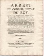 Arret Du Conseil  D'Etat Condamnant  Le SENECHAL DE MARANS (charente Inferieure) 1722   SUP - Decrees & Laws