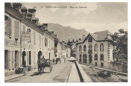CPA - ARGELES GAZOST, RUE DE VIEUZAC - Hautes Pyrénées 65 - Animée, Attelage, Hotel Des Touristes... - Argeles Gazost