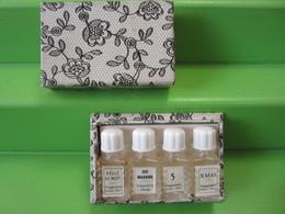 4 MINIATURES DE PARFUM FRAGONARD BELLE DE NUIT/OUI MADAME/5 /XMAS + BOITE - Miniature Bottles (in Box)