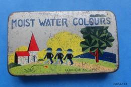 Ancienne  Petite Boite En Metal MOIST WATER COLOURS  Fabriqué Au Japon -- Peinture Aquarelle - Boxes