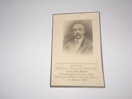 Edouard Mathieu Né à Rienne Mort Pour La Patrie à Duisant France En 1940.Veuf De Emilie Brichet. - Décès