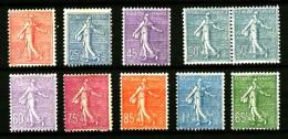 Semeuse Lignée -  Ensemble De 8 Valeurs + 1 Paire - Neufs N* - Très Beaux - Cote 200 Eur+ - 1903-60 Säerin, Untergrund Schraffiert