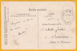 1920 CP De Damas, Syrie, Levant Français En FM Vers Beautheil, France, Poste Aux Armées  610 - Marcophilie (Lettres)