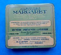 Ancienne Petite Boîte En Métal  Pastilles Médicales PASTILLES MARGARET - Pharmacie Clemot à Niort -  Médicament. Vide - Boxes