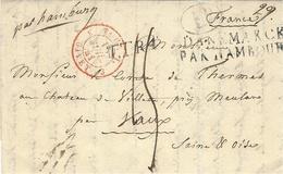 "1841- Letter From Copenhagen To France ""par Hamburg"" + DANEMARCK / PAR HAMBOURG - Danimarca"