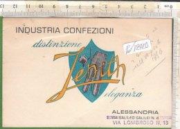 PO7241D# CARTONCINO BIGLIETTO VISITA INDUSTRIA CONFEZIONI ZENITH ALESSANDRIA - MODA Anni '50 - Visiting Cards