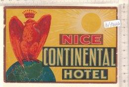 PO7268D# ETICHETTA - ADESIVI ALBERGHI - NICE CONTINENTAL HOTEL - Hotel Labels