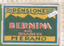 PO7274D# ETICHETTA - ADESIVI ALBERGHI - HOTEL - PENSIONE BERNINA - MERANO - Hotel Labels