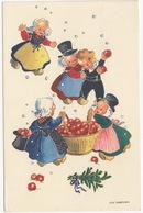 Appeloogst, Kinderen - Harvesting Apples, Children - (Ulla Lindstrom) - 1948,  Danmark - Humorkaarten