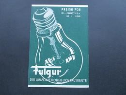 Werbekarte 1935 Glühlampen Fulgui. Sonderstempel Tag Der Briefmarke 3. Dezember 1935 ?! Eventl. Später Verwendet! - Werbepostkarten