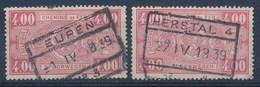 "BELGIE - TR 156 (2x) - Cachet  ""EUPEN Nr 3"" + ""HERSTAL 4"" - (ref. LVS-19.489) - 1923-1941"