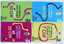 TELECARTES.SUISSE.cartes Prépayées Ticket De Bus Geneve.LOT DE 4.collection Complète. - Switzerland