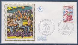 = Jeux Mondiaux Des Handicapés Physiques 42 Saint Etienne 27.6.70 Enveloppe 1er Jour N°1649 Javelot Et Volley-ball - Handisport