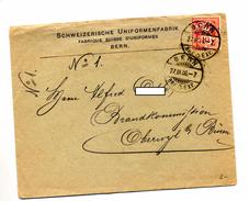 Lettre Cachet Berne Entete Fabrique Uniforme Adressé à Commission Incendie - Marcophilie
