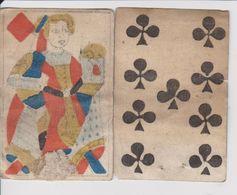 2 Cartes A Jouer Très Anciennes Avec Annotations Au Dos - Group Games, Parlour Games