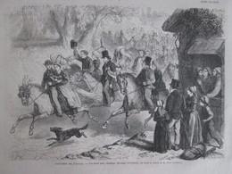 Gravure 1865  La Noce Aux Champs Bocage Normand Normandie Mariage - Vieux Papiers