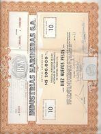 INDUSTRIAS HARINERAS S.A. ACCION TITULO SHAREHOLDING AÑO 1977 DOLORES SORIANO REPUBLICA ORIENTAL DEL URUGUAY IHSA - Industrie