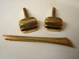 MW. 172. Epingle à Cravatte Et Boutons De Manchettes. Un Losange + AmD - Jewels & Clocks