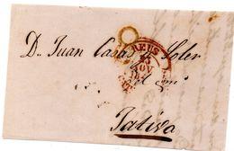 Frontal De Carta Con Matasellos De Reus Destino Xativa. - Espagne