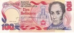 BILLETE DE VENEZUELA DE 100 BOLIVARES DEL AÑO 1980 SERIE A EN CALIDAD EBC (XF) (BANKNOTE) - Venezuela