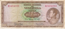BILLETE DE VENEZUELA DE 100 BOLIVARES DEL AÑO 1971 SERIE B  (BANKNOTE) - Venezuela