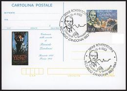 REPUBBLICA 1983 - 100° Della Nascita Di R. Zandonai Cartolina Postale - £. 300  - Filagrano 194 Annullo FDC - 6. 1946-.. Republic