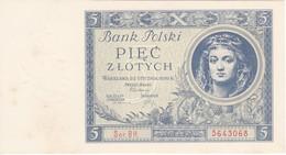 BILLETE DE POLONIA DE 5 ZLOTYCH DEL AÑO 1930 SIN CIRCULAR-UNCIRCULATED (BANKNOTE) - Pologne