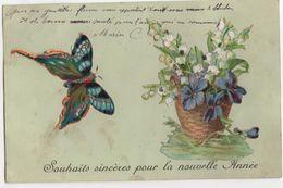 CPA - Carte Fantaisie   - Papillon - Ajoutis - Otros