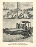 Photo  : LES PROGRES DE L'AGRICULTURE - La Moisson Au XVIIIe Siècle - Une Moissonneuse-batteuse Moderne - Photo Keystone - Profesiones