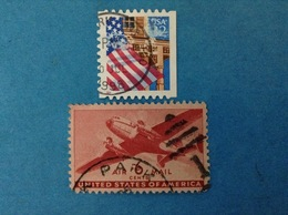 STATI UNITI USA FRANCOBOLLI USATI TWO STAMPS USED - BANDIERA 32 + AEREO POSTA AEREA AIRMAIL 6 - Collezioni & Lotti