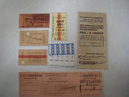 Lot Tickets Métro Train Bus Tramways - Transportation Tickets